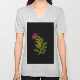 Sedum Telephium Mary Delany Vintage British Floral Flower Paper Collage Black Background Unisex V-Neck