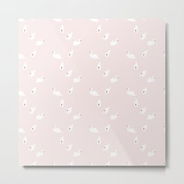 Swan Pattern on Pink 034 Metal Print