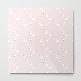 Swan Pattern on Pink 034 Metal Print