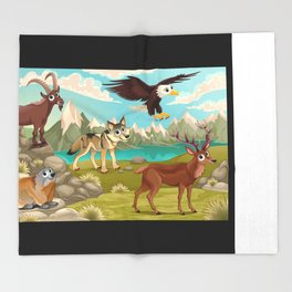 Funny animals in a mountain landscape Throw Blanket