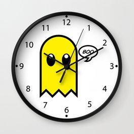 Cute ghost yellow spooky boo Wall Clock