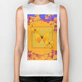 Golden Yellow Butterflies Orchid Sprays Purple Lilac Patterns Biker Tank