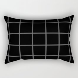 Plaid Black and Grey Rectangular Pillow