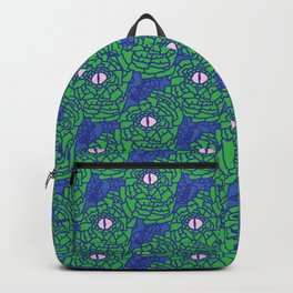 Green Blue and Pink Snakeskin Eye Graphic Backpack