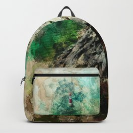 The Lighthouse - Abstract in Terracotta, green and Pale Yellow Backpack