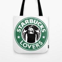 starbucks Tote Bags featuring Starbucks Lovers by Renata Bernardes