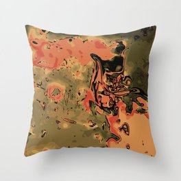 orange green and brown painting abstract background Throw Pillow