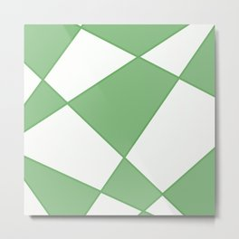 Geometric abstract - green and white. Metal Print