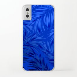 Palm Tree Fronds Brilliant Blue on Blue Hawaii Tropical Décor Clear iPhone Case