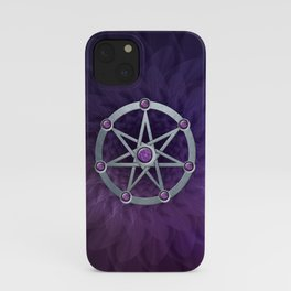 Elven star SIlver embossed with Amethyst iPhone Case