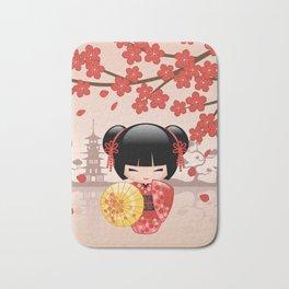 Japanese Red Sakura Kokeshi Doll Bath Mat