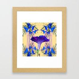 CONTEMPORARY PURPLE-BLUE FLOWERS ON CREAM Framed Art Print