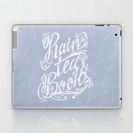 Rain, Tea & Books - White lettering only Laptop & iPad Skin