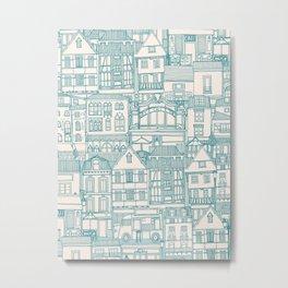 cafe buildings blue Metal Print