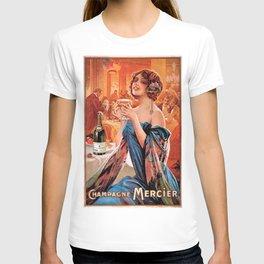Vintage Champagne Mercier 'La femme en bleu' by Gaspar Camps T-shirt