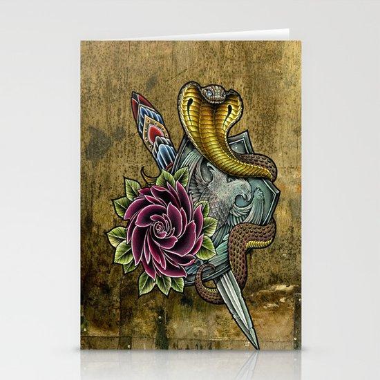 cobra rose shield Stationery Cards