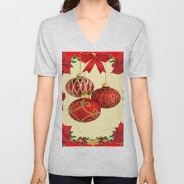 RED CHRISTMAS POINSETTIAS FLOWER CHRISTMAS ORNAMENTS Unisex V-Neck