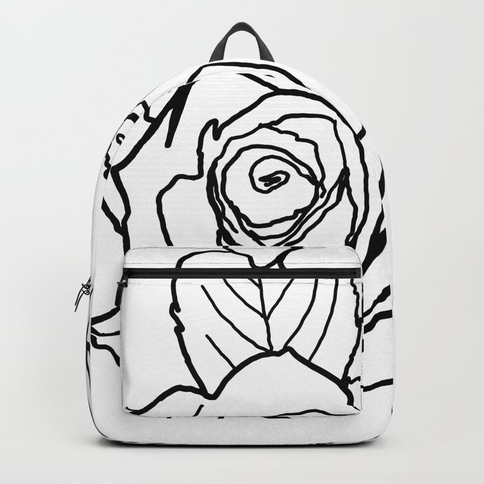Feminine and Romantic Rose Pattern Line Work Illustration Backpack ... a304064d0a8c7