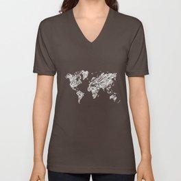 Scribble world map on chalkboard Unisex V-Neck