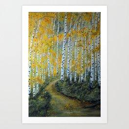 Birch Aspen Trees, Impressionism Landscape Painting, Autumn Colors Art Print