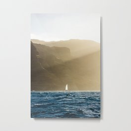 Na Pali Coast Hawaii Sunset Sailboat  Metal Print