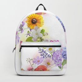 arrangement of colorful flowers for background Backpack