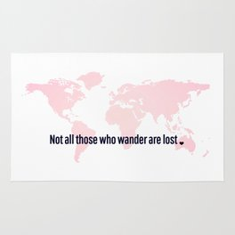 Not All Those Who Wander Are Lost Pink Map San Serif Rug
