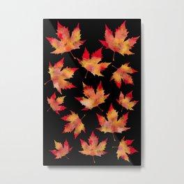Maple leaves black Metal Print