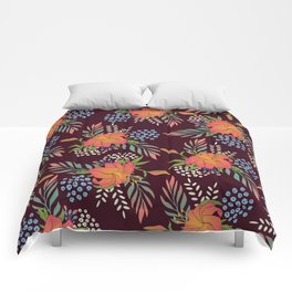 Red Floral Print Comforters