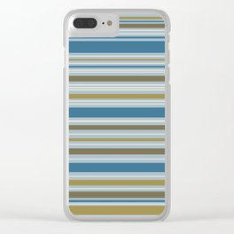 Stripey Design Gold Cream Brown Blues Clear iPhone Case