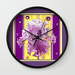Pink Iris Puce Purple-Yellow Art Deco Style Abstract Wall Clock