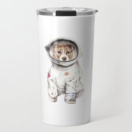 Laika Dog Watercolor Illustration Space Pup Travel Mug
