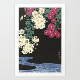 Chrysanthemums and Running Water Art Print