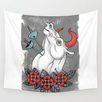 pit bull Wall Tapestries featuring The Bull by Johan Renklint