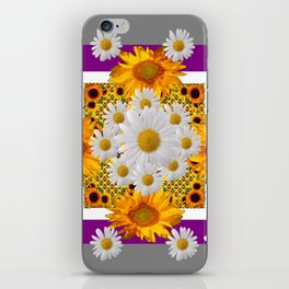 GREY & WHITE DAISIES FLORAL ABSTRACT & YELLOW SUNFLOWERS iPhone Skin