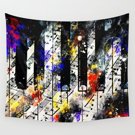 piano keys and music sheet pattern wsstd Wall Tapestry