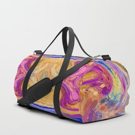psychedelic geometric symmetry abstract pattern in pink yellow blue Duffle Bag