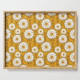 Harry Sunflower Shirt Flower Print Hippie Pop Art Floral Pattern Serving Tray