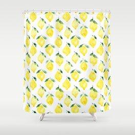 Sicilian lemons || watercolor Shower Curtain