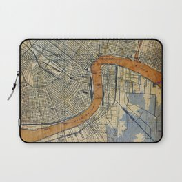 New Orleans Louisiana 1932 vintage map, NO old colorful artwork Laptop Sleeve