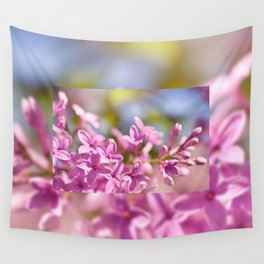 Lilac flowerets bright pink Wall Tapestry