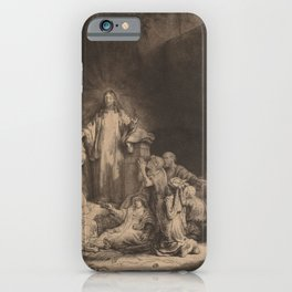 Rembrandt - Christ Preaching (The Hundred Guilder Print) (1649) iPhone Case