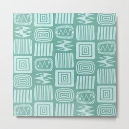 Retro Mid Century Modern Check Pattern 244 Blue and Green Metal Print