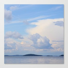 Blue Lakescape With White Clouds In The Blue Sky #decor #society6 Canvas Print