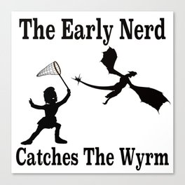 The Early Nerd Catches The Wyrm Silhouette Canvas Print