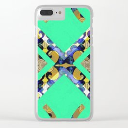 Feng Shui Color Therapy Vintage Silk Boho Brocade Print Clear iPhone Case