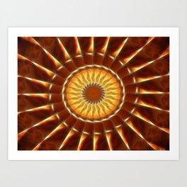 Brown Tan Gold Kaleidoscope Art 12 Art Print