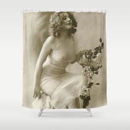 Ziegfeld Follies Jazz Age Paris Showgirl, 1929 black and white photograph Shower Curtain