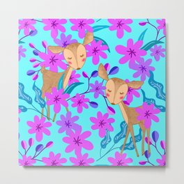 Cute wild sweet little baby deer fawns lost in the forest of delicate pink flowers illustration. Metal Print