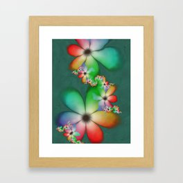 Rainbow Flowers Keeping Cool Against a Mint Wall Framed Art Print